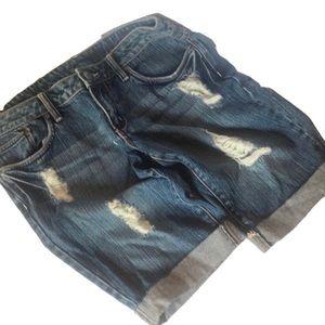 """""""725"""" Denim Distressed Ladies Shorts."""